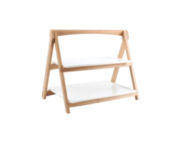 Buffet Etagere 2 Ebenen Rechteckig Holz Mit Weiß Porzellan 405