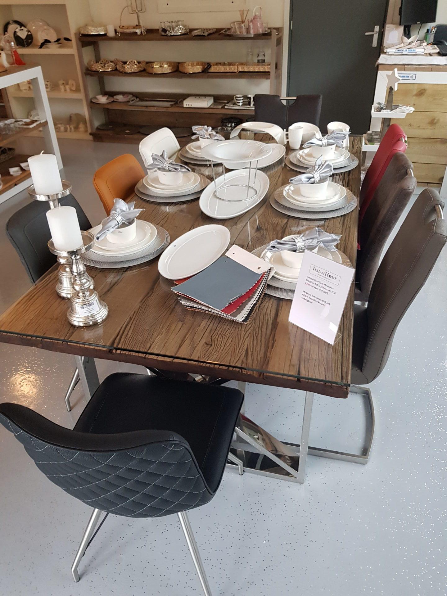 Sedie Per Tavolo Di Vetro.Tavolo In Teak Puro Con Lastra Di Vetro 100 X 210 Cm Sedie Da