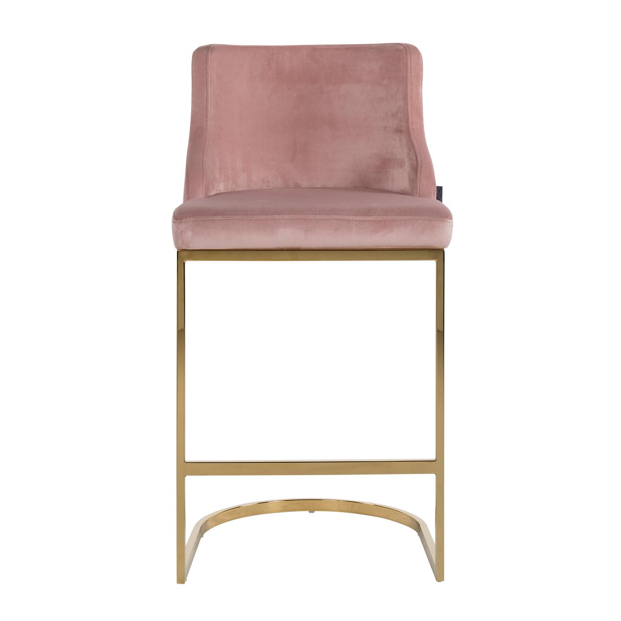Barstuhl Bolton Pink Velvet Gold Ilham Home Decorations